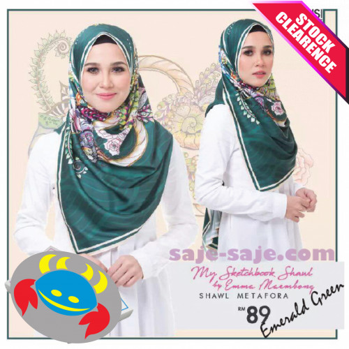 Emma Maembong Long Shawl Metafora - Emerald Green