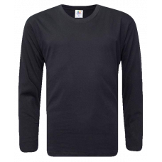 T-Shirt Cotton Round Neck Long Sleeve - Black
