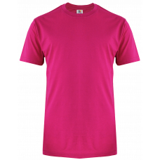 T-Shirt Cotton Round Neck Short Sleeve - Fuchsia